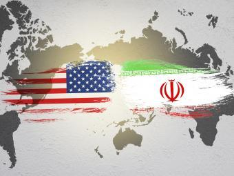 United States and Iran Flag over world map