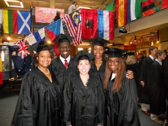 Goodson '11 with friends at Fall Convocation 2010