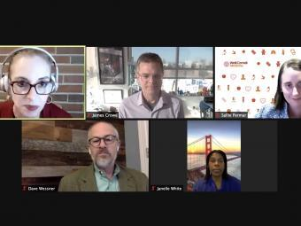 Kata Chillag, Janelle White, Sallie Permar, James Crowe, Dave Wessner on a Zoom Webinar