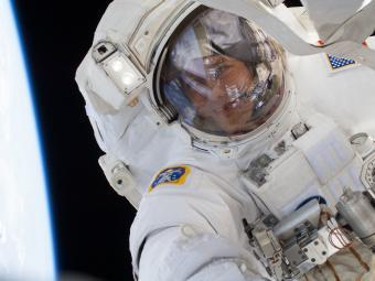 Tom Marshburn in Space Suit with in Space