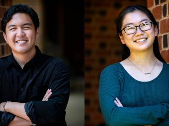 2021 Goldwater Scholars Paul Gomez '22 and Andrea Liu '23
