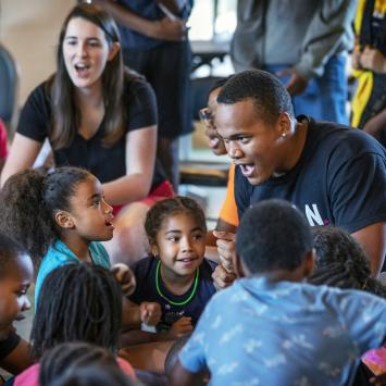 Students at Freedom Schools interact with Davidson students