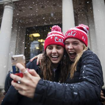 Students take a selfie in the snow